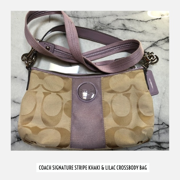 Coach Handbags - Coach Signature Stripe Khaki & Lilac Crossbody Bag